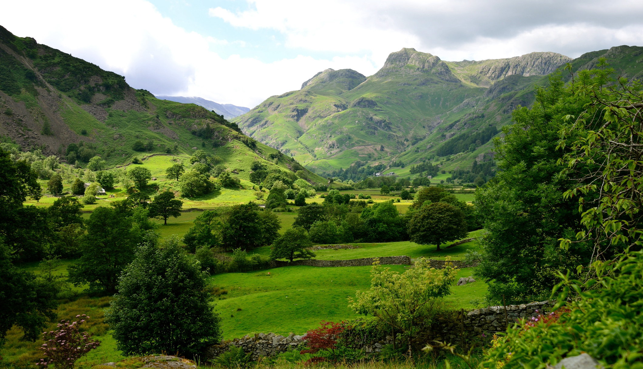 The Langdale Pikes along the Cumbria Way