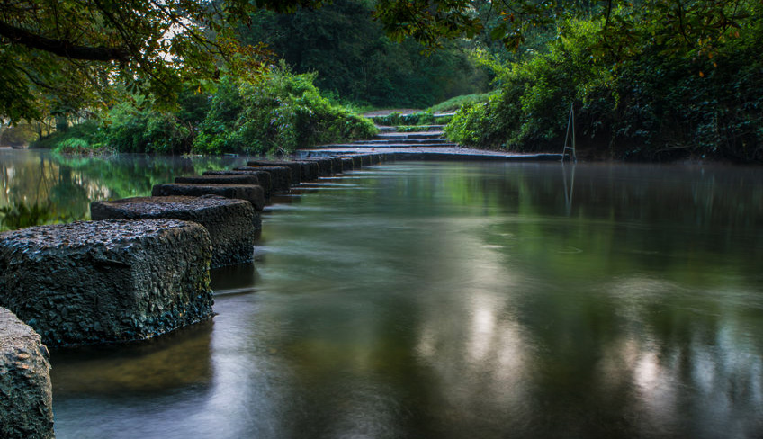 Stepping Stones over the River Mole at Dorking on the North Downs Way
