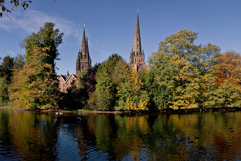 Lichfield Cathedral at the end of the Two Saints Way