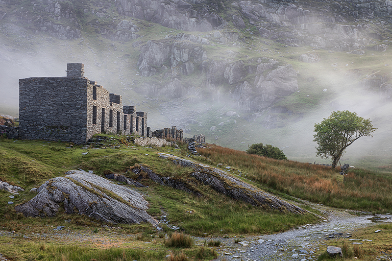 Ruins of the Quarrymen's Houses at Cwmorthin on the Snowdonia Slate Trail